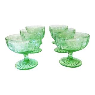 Cameo Ballerina Green Depression Glass Sherbet Cups - Set of 6