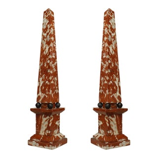 Italian Neoclassic Rouge and Marble Obelisks - a Pair For Sale