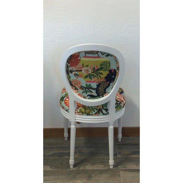"""Classic Louis XV style round back side chairs upholstered in vibrant, chinoiserie print """"Chiang Mai Dragon"""" in Aquamarine..."""