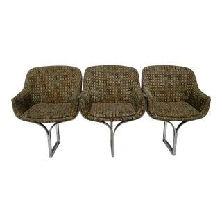 Milo Baughman Style Mid-Century Three Seater Chrome Sofa For Sale
