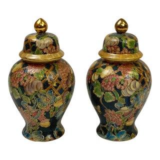 Vintage Ceramic Hand Painted Decorative Urns - Pair For Sale