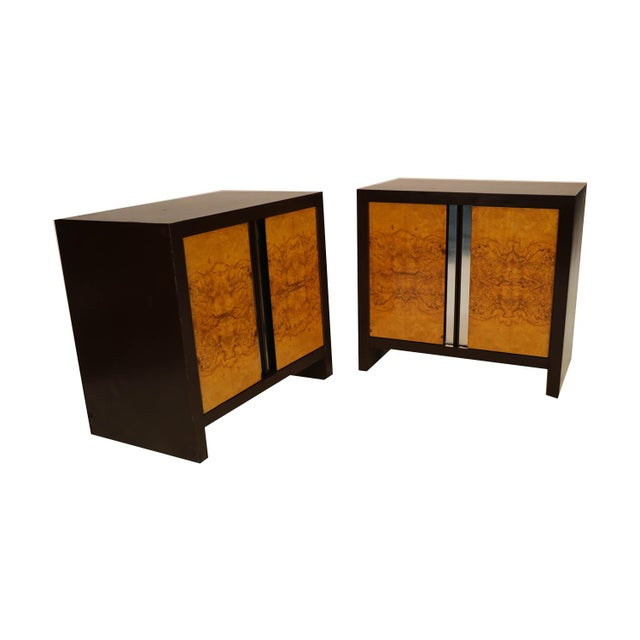Metal Pair Mid Century Milo Baughman Style Burl Nightstands Tables For Sale - Image 7 of 11