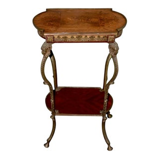 French Kingwood Side Table W/ Brass Mounts C.1880 For Sale