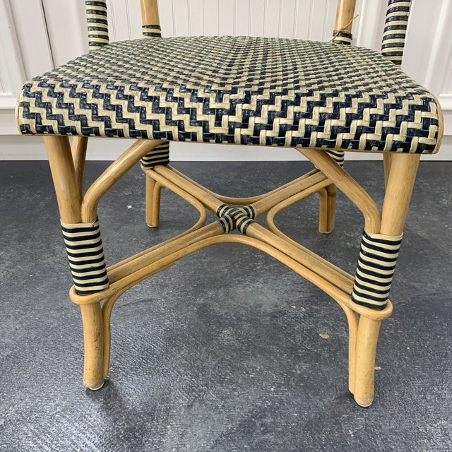 Vintage Leather Woven Bistro Chair (Navy&White) For Sale In Milwaukee - Image 6 of 8