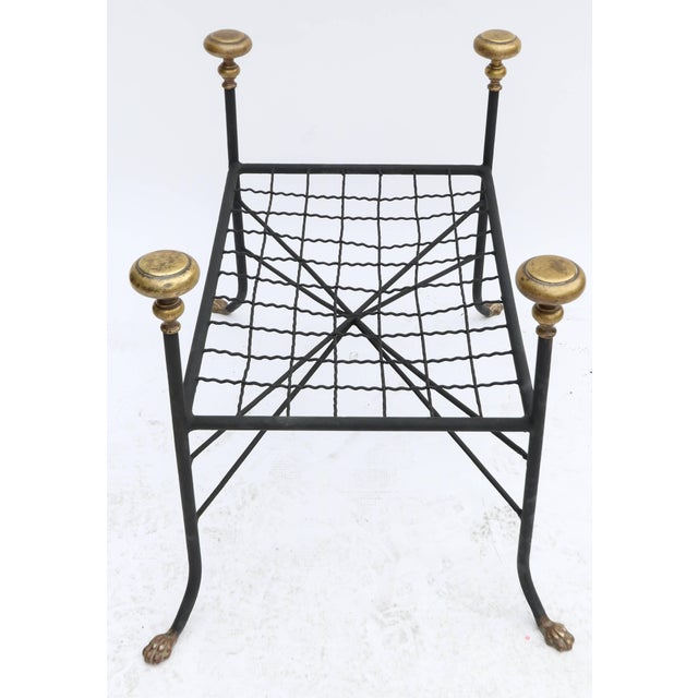 Black Metal Bench or Stool With Brass Finials and Claw Feet For Sale - Image 4 of 7