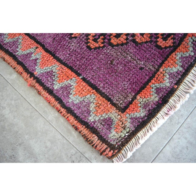 Boho Chic Distressed Small Rug Low Pile Hand Knotted Yastik Rug Faded Mat - 18'' X 36'' For Sale - Image 3 of 4