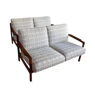 Pair of Walnut Settees by Gunlocke Chair Co. For Sale