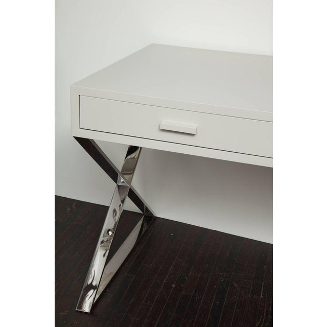 Custom Oversized High Gloss Lacquer Desk For Sale - Image 9 of 10