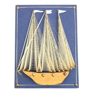 Mid Century String Art Sailboat For Sale