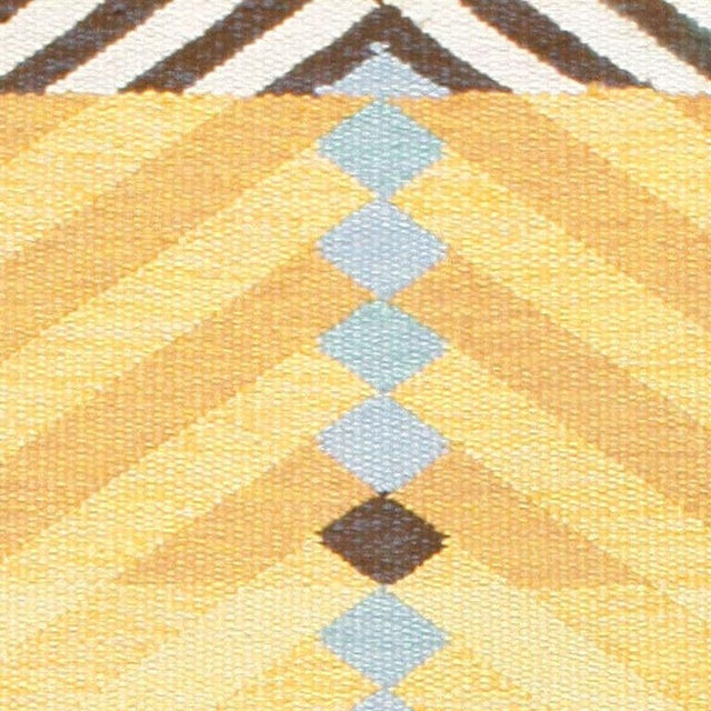 Vintage Scandinavian Yellow and Gold Rug - 5′5″ × 7′9″ For Sale - Image 4 of 7
