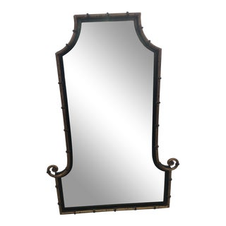 Pagoda Style Bronze Patina and Black Mirror For Sale