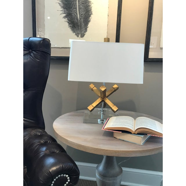 2010s Contemporary Jackson Square Gold Steel Table Lamp For Sale - Image 5 of 7