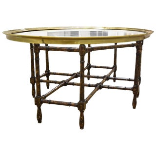 Faux Bamboo Coffee Table With Glass and Brass Top For Sale