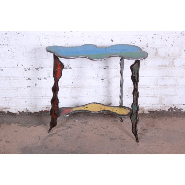 Metal Industrial Postmodern Forged Metal Console Table Signed Cindy Wynn For Sale - Image 7 of 11