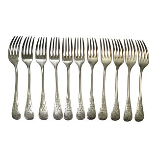 "French Decorative ""TG"" Initial Engraved Forks - Set of 11 For Sale"