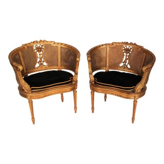 French Louis XVI Style Carved Fauteuils Cane Armchairs - a Pair For Sale