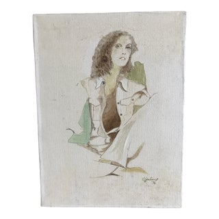 1970s Vintage Bohemian Female Portrait Painting For Sale