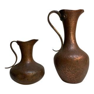 Vintage Hammered Copper Pitcher/ Vase - Set of 2 For Sale