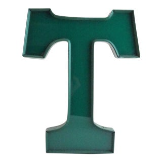 """Vintage Green """"T"""" Marquee Letter Sign"""