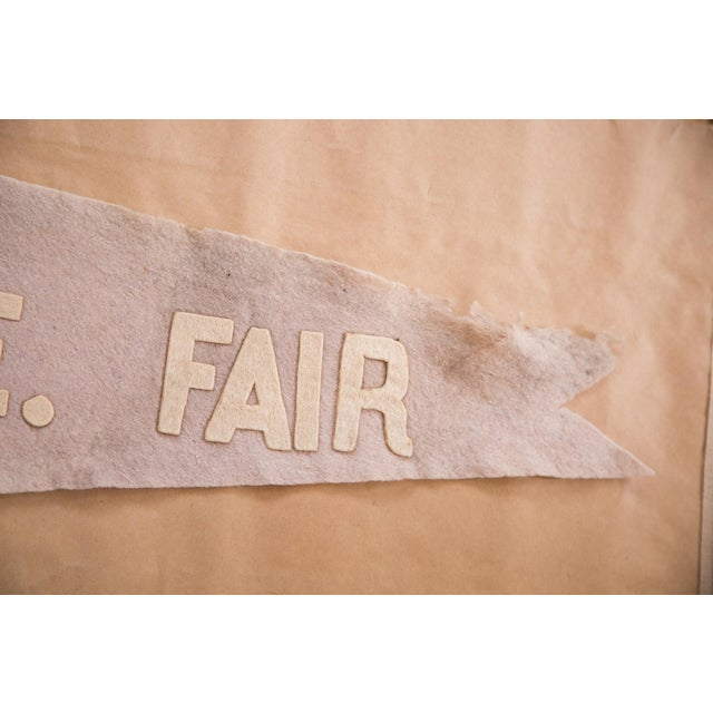 Antique N.E. Fair felt flag circa 1915/1920s. This felt flag banner pennant is in vintage condition and shows signs of use...