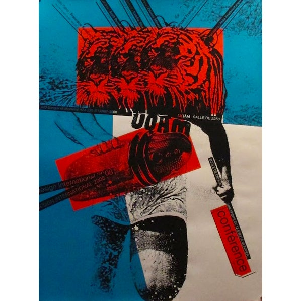 Contemporary 2008 Original Poster Design International - Red and Blue - Alfred Halasa For Sale - Image 3 of 3