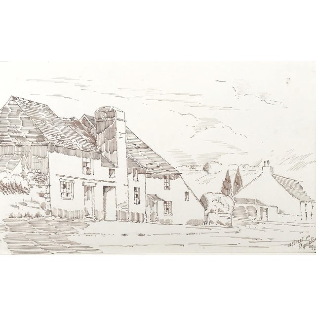 """Cottage Antique English Pen & Ink Cottage Drawing """"A Street in Plympton"""" 1923 For Sale - Image 3 of 5"""