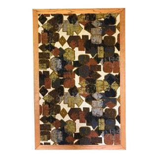 Large Vintage 1970s Geometric Batik Silk Screen Wall Hanging