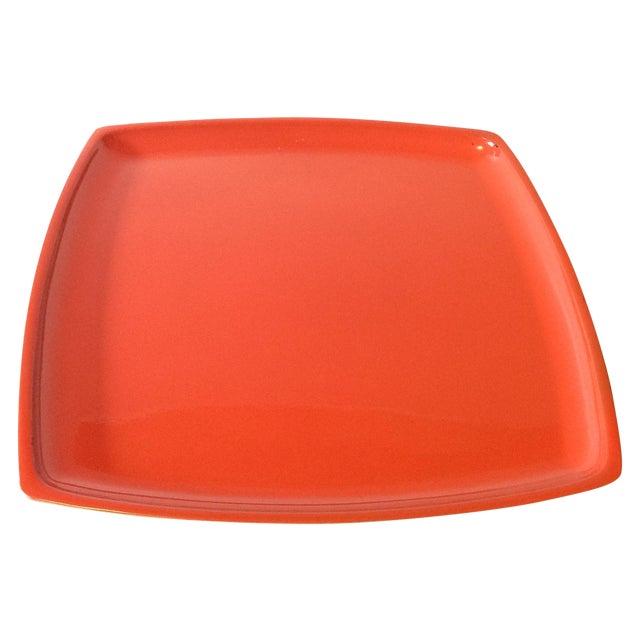 MCM Bright Orange Lacquer Serving Tray - Image 1 of 3