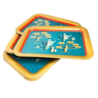 1940's Japanese Tin Motif Serving Trays - Set of 10 For Sale