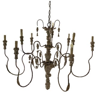 Wooden French Country Chandelier For Sale