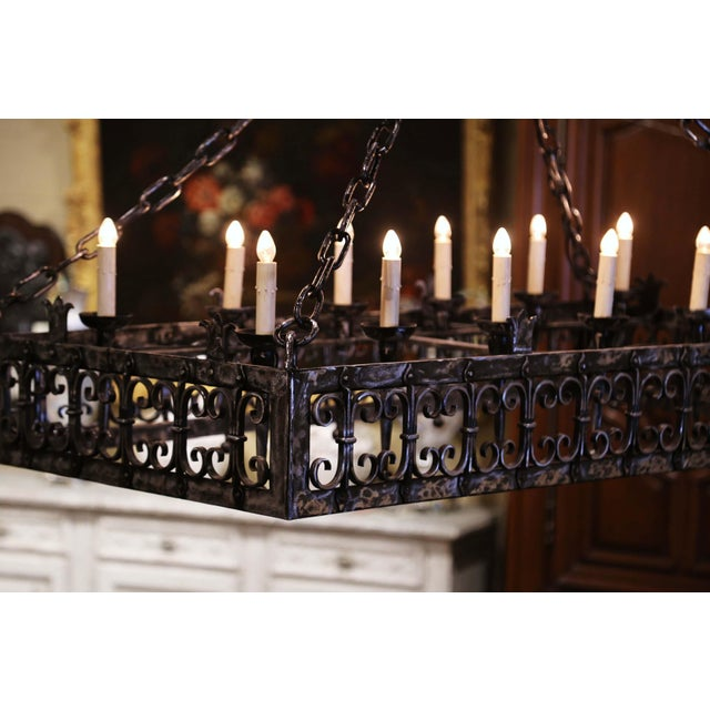 Metal 19th Century French Gothic Forged Polished Iron Ten-Light Island Chandelier For Sale - Image 7 of 13