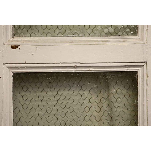 Tall White Door With Two Chicken Wire Glass Panels - Image 3 of 4