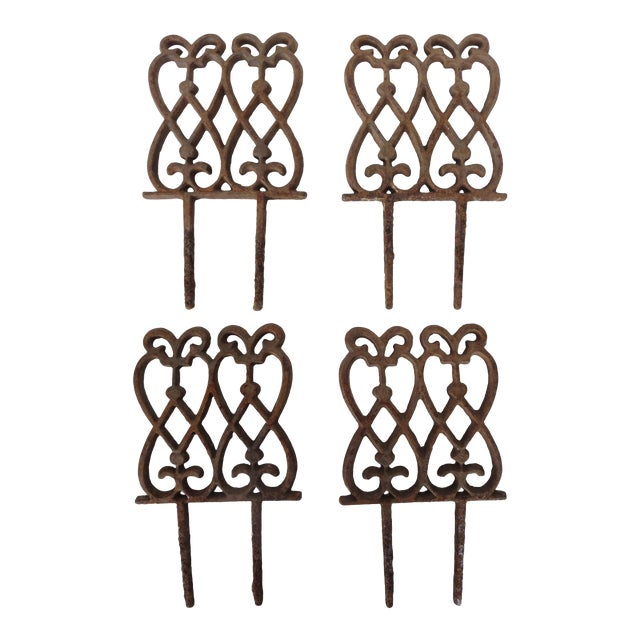 French Iron Garden Stakes - Set of 4 For Sale