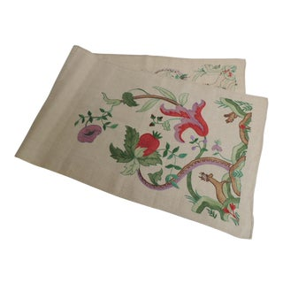 Antique Alegorical Embroidery Red and Green Table Runner For Sale