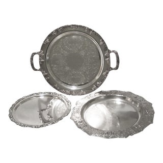 Silver-Plated Serving Trays - Set of 3