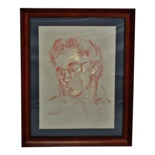 Vintage Framed Pastel Portrait Drawing - Artist Signed For Sale