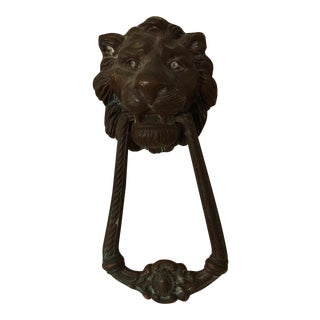 Vintage Brass Lion Door Knocker For Sale