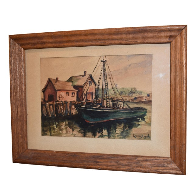 Lorena Lynch Mid-Century Sailboat Watercolor Painting For Sale