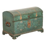 Image of Antique Original Blue Painted Small Trunk Dated 1788 From Sweden For Sale