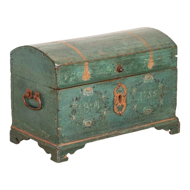 Antique Original Blue Painted Small Trunk Dated 1788 From Sweden For Sale