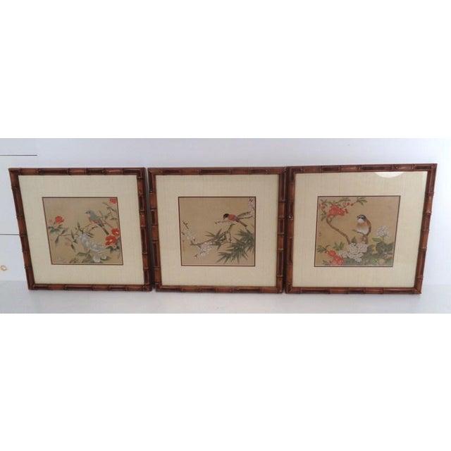 Vintage Regency Japanese Silk Bird & Floral Prints- Set of 3 For Sale - Image 10 of 10
