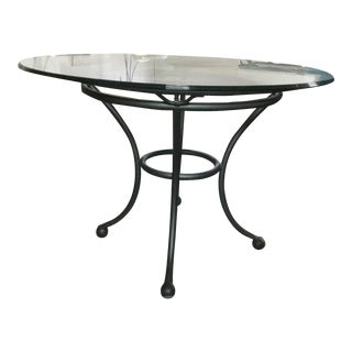 Art Deco Style Iron and Glass Round Dining Table