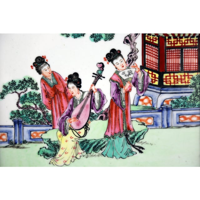 Hand-Painted Geishas on Porcelain Tile For Sale - Image 4 of 7