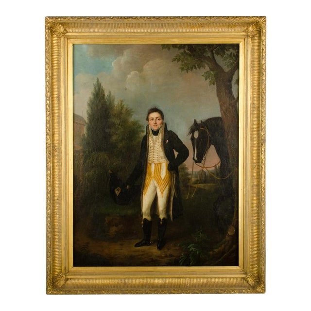 """Mid 20th Century """"Uniform with Horse"""" Figurative Oil Painting, Framed For Sale"""