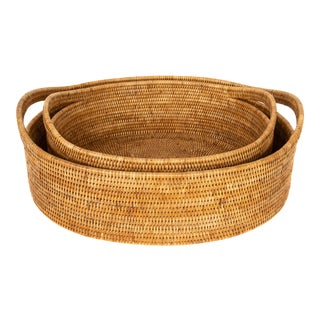 Artifacts Rattan Oval Basket Honey Brown - a Pair For Sale