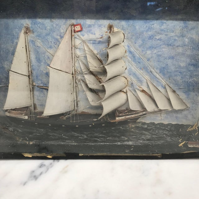Early 19th Century Early 19th Century Diorama Shadow Box of Sailing Vessel For Sale - Image 5 of 11
