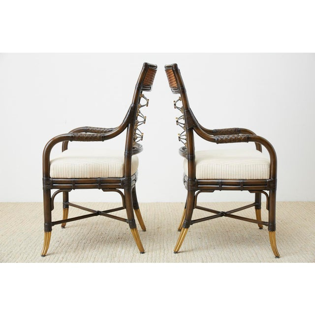 Set of Four Neoclassical Style Rattan Dining Armchairs For Sale - Image 4 of 13