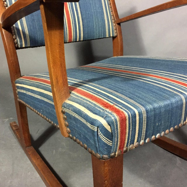 1940s Danish Rocking Chair, Oak and Wool Stripe For Sale - Image 10 of 12