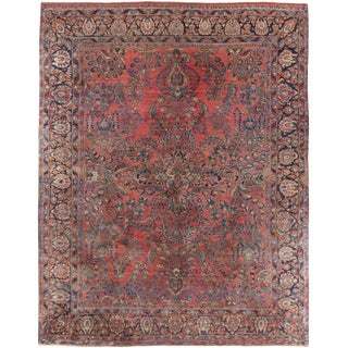 "Vintage Persian Sarouk Carpet Rug 9'2"" X 11'2"" For Sale"