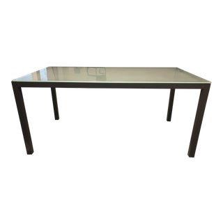 Modern - Parsons Style Metal Base + Glass Dining Table/Desk For Sale